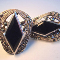 Diamond Shape Onyx Marcasite Sterling Earrings, Art Deco Clip Ons, Vintage
