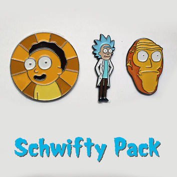 Schwifty Pack – Three Rick and Morty Pins