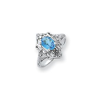 0.008 Ct  14k White Gold 7x5mm Oval Blue Topaz Checker Diamond Ring SI2/SI3 Clarity and G/I Color