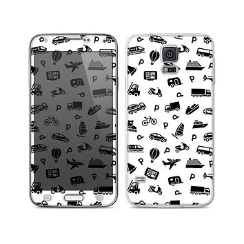 The Black and White Travel Collage Pattern Skin For the Samsung Galaxy S5