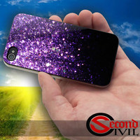 Glitter violet - iPhone 4/4S, 5/5S, 5C - Samsung Galaxy S3, S4 for Rubber and Hard Plastic Case