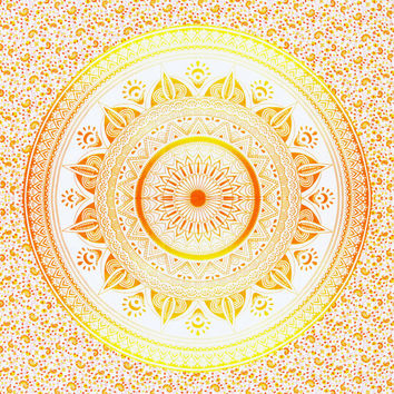 Bohemian Orange and Yellow Mandala Throw Blanket Queensize Bedspread