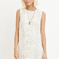 Metallic Crochet Shift Dress