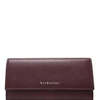 Givenchy Pandora Oxblood Burgundy Goat Leather Flap Wallet Italy New