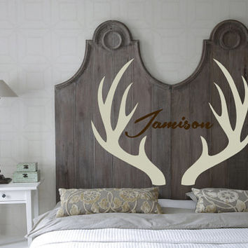 Antlers, Steed, Buck, Deer, Personalize, Custom, Boy, Girl, Name,  Decal, Vinyl, Sticker, Wall Art, home, bedroom, nursery, kid's decor