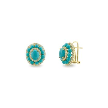 25% Reduced - Collins Ave Turquoise & CZ Omega Clip Earrings in Gold Plated Silver by Fronay Co.