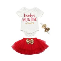 2018 Baby Girl Clothes Newborn Infant Baby Girl Letter Romper Tops+Skirt Valentine's Day Outfits Set Newborn Clothe dropshipping