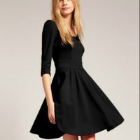 Wholesale Elegant Pleated Round Collar Simple Design Dress Black www.wholesale-dress.net