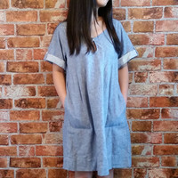 Vintage Blue Denim Short Sleeves Tunic Dress with Pockets