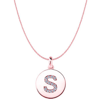 """S"" Diamond Initial 14K Rose Gold Disk Pendant (0.14ct)"