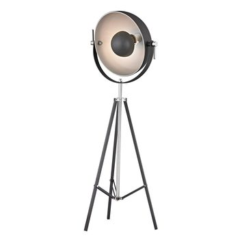 D2464 Backstage Adjustable Floor Lamp in Matte Black and Polished Nickel
