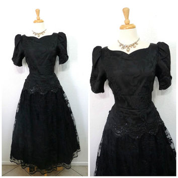 Vintage 80's Black Lace Dress Sweetheart Brocade Sequin Jessica McClintock Prom Party Evening Cocktail dress Size Medium