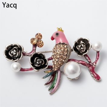 Bird Flower Pearl Crystal Custom Collection Accessories Brooch Pin Jewelry Gift Women Teen Girl Daughter Friend Sister Maid WB21