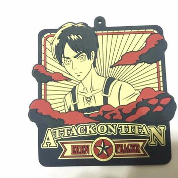 Cool Attack on Titan G422  Anime keychain Krista Lenz Rivaille Eren Armin Sasha Mantra Rubber strap/phone charms AT_90_11