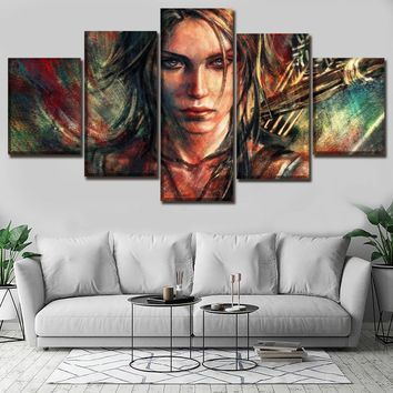 5 Pieces Home Decoration Wall Art Pictures Game Tomb Raider Lara Croft Painting On Canvas Printing Type Poster Decorative Frame