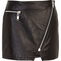 Black leather asymmetric zip mini skirt