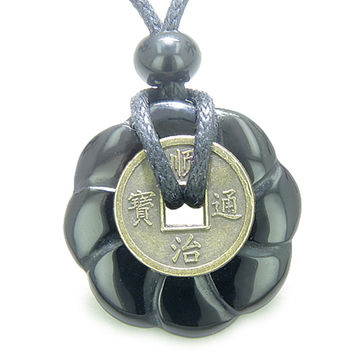 Lucky Coin Celtic Lotus Flower Amulet Spiritual Black Agate 30mm Donut Pendant Necklace