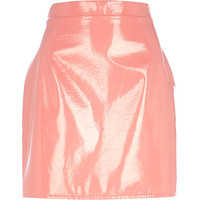 River Island Womens Pink high shine leather-look mini skirt