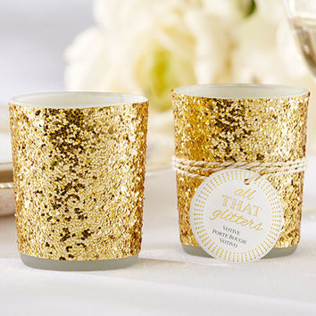 Glittery Gold Candle Holders (Set of 4)