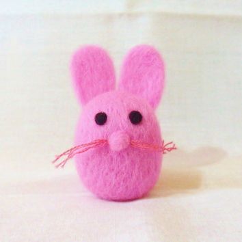 Needle Felted Rabbit -  miniature pink bunny rabbit figure - 100%  wool - merino wool felt rabbit