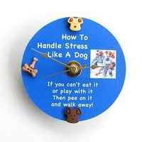 Stress Advice Upcycled CD Clock by AllAboutTheButtons on Zibbet