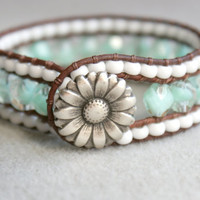 Aqua Boho leather wrap bracelet, leather cuff, Chan Luu Style, mint green, white