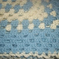 Light Blue and white baby blanket