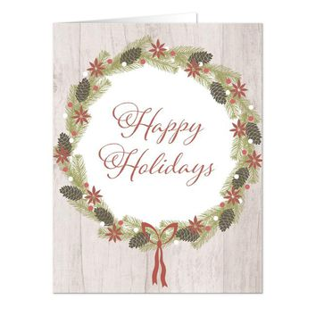 Rustic Pine Cone Wreath 'Happy Holidays' Christmas Cards