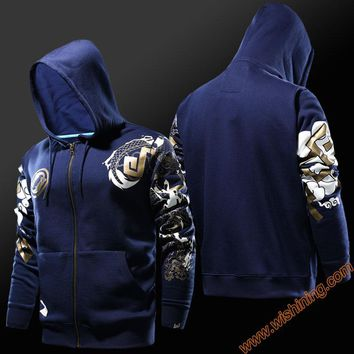 2017 Blizzard OW Game Reaper Hanzo Cosplay Hoodies Men Boy Full Face Zip 4XL Hooded Cloth Blue 3xl OW Game Hanzo Hero Sweatshirt