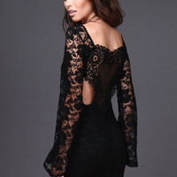 BLACK LACE AND CROCHET BELL SLEEVE DRESS