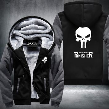New  Winter Warm The Punisher Hoodies Anime skull Hooded Coat Thick Zipper men cardigan Jacket Sweatshirt  USA Size