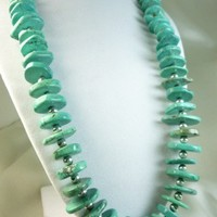 Tibetan Blue Turquoise Rondelle Nugget and Sterling Beaded Necklace