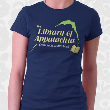 Come Look at Our Book T-shirt - 100% Cotton. Mens, womens and kids sizes. A funny slogan shirt in brown and navy