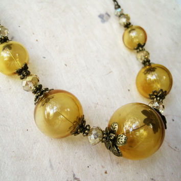 Amber Blown Glass Bubble Necklace. Graduated Hollow Glass Mustard Yellow Necklace. Vintage Inspired Cocktail Jewelry. Autumn Accessories.