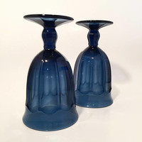 Blue Glass Goblets, Noritake Provincial Cobalt Blue Glass Water Goblets, Colored Goblets, Vintage Stemware