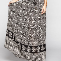 Full Tilt Gauze Maxi Skirt Black/White  In Sizes