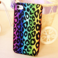 Translucent Frosted Gradient Leopard Hard Cover Case For Iphone 4/4s