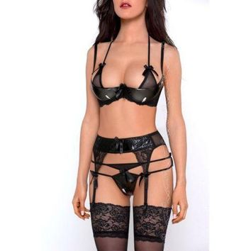 Axami V-6471 Noir Plunge Shelf Bra Black Garter Belt String Set
