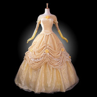 adult princess belle costume women Beauty and the Beast costume cosplay halloween costumes for women velour Prom dress custom