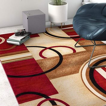 6084 Red Geometric Contemporary Area Rugs