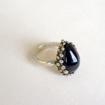 SALE - Sterling Silver and Onix Stone Ring - One of a Kind OAK Ring - Drop Black Stone and Silver Ring - Contemporary Modern Unique Jewelry