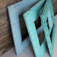 Rustic Beach Chic Set of 3 Open Wall Frames for Coastal Room Decor , Nautical Nursery - Hand Painted Ombre