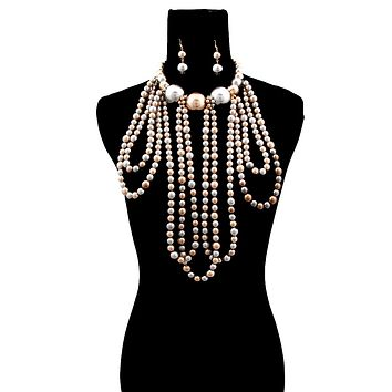 Gray and Bronze Pearl Necklace Set Featuring Long Draping and Jumbo Pearl Neckline
