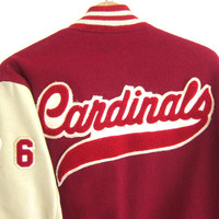 Vintage leather and wool letterman jacket coat / Red adn White Cardinals high school jacket