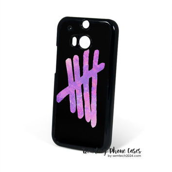 Pink Galaxy 5SOS Logo HTC One M8 Case Cover for M9 M8 One X Case