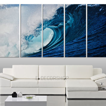 Large Wall Art Incredible Big Blue Wave on Ocean Canvas Art Print for Home Decoration, Great Quality, Large Sea  Beachcomber Canvas Prints