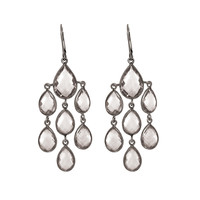 Chandeliers Of Rock Crystal Quartz Earrings Set In Black Rhodium Finish Sterling Silver
