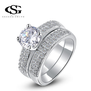 G&S Classic Genuine Austrian Crystals Fashion Overlap zircon Ring man-made Bridal Sets Platinum Plated Gold Rings