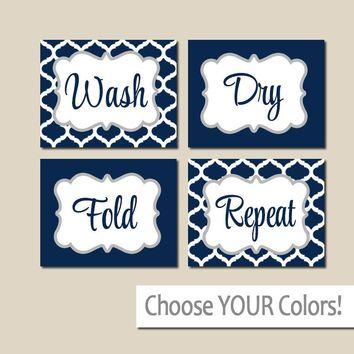 LAUNDRY Wall Art, Laundry Room Decor, Laundry Room Sign, CANVAS or Print, Wash Dry Fold Repeat, Laundry RULES, Laundry Quote, Set of 4