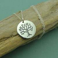 Etched Tree Necklace - sterling silver zen jewelry - tree of life pendant - gift